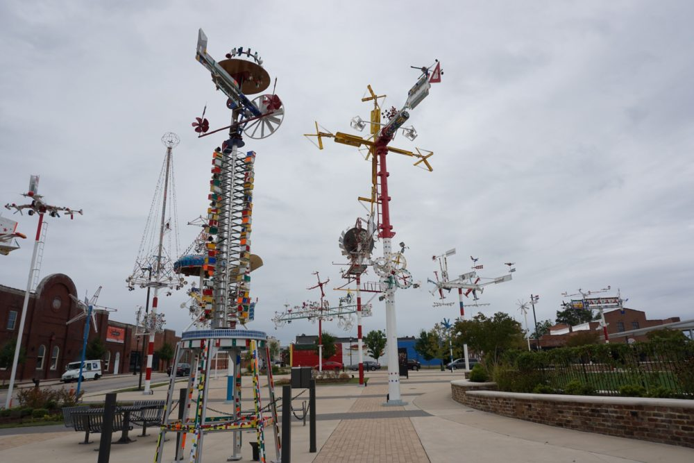 metal sculptures that move in the wind - whirlygigs - in Wilson, NC