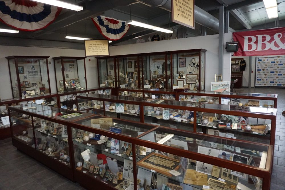 display cases inside NC Baseball Museum