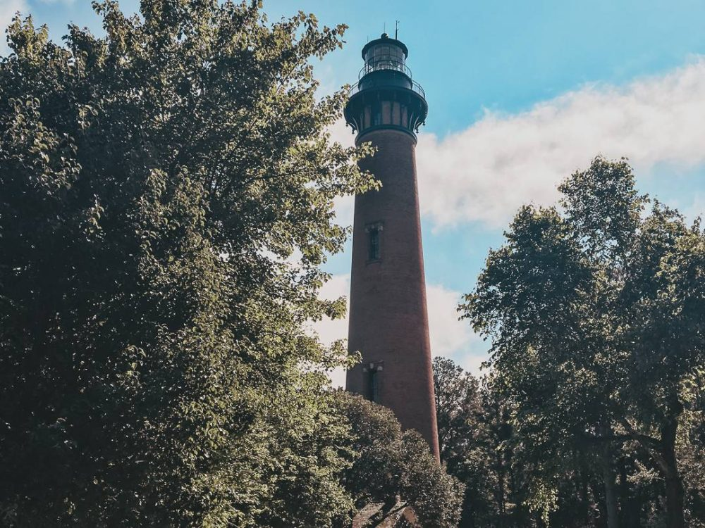 Currituck lighthouse through the trees