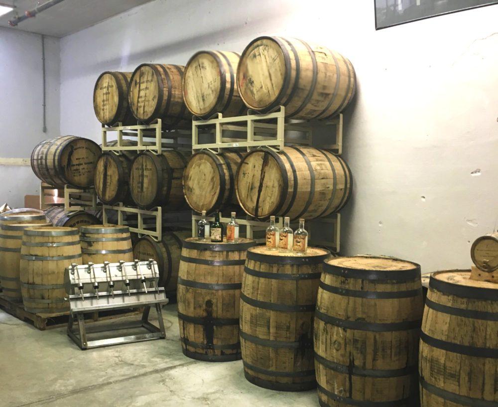 barrels of rum at Kill Devil Hills Rum