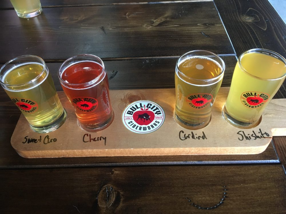 flight of ciders from Bull City Ciderworks