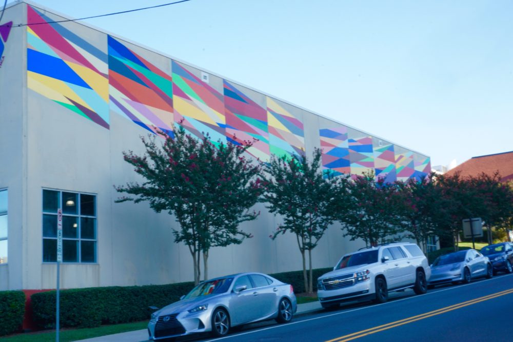 geometric colorful mural on YMCA Downtown Durham building