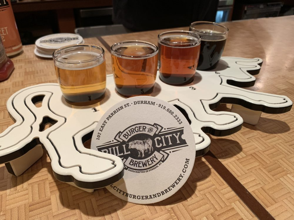 flight of beer from Durham's brewery Bull City Buger