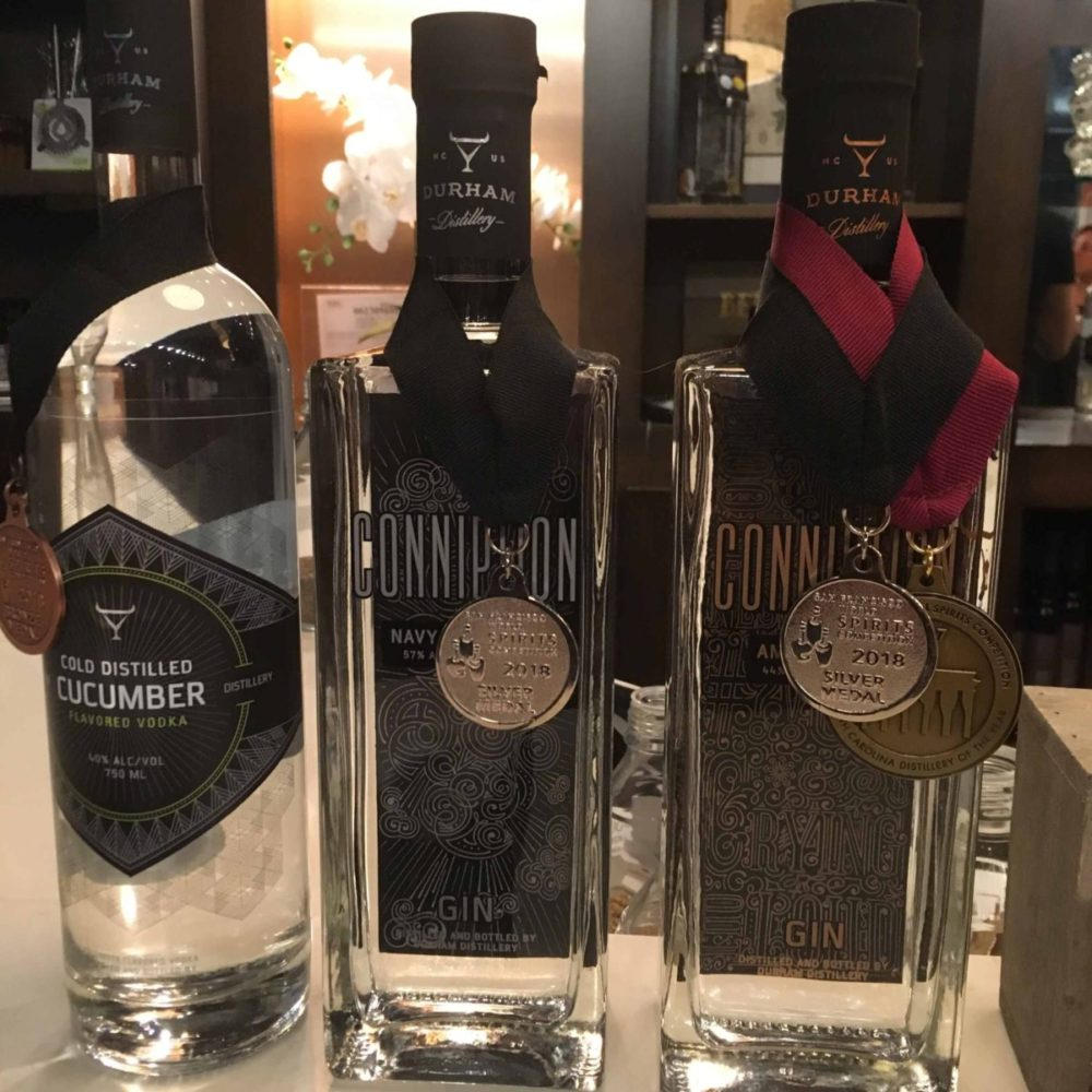 bottles with medals from Durham Distillery