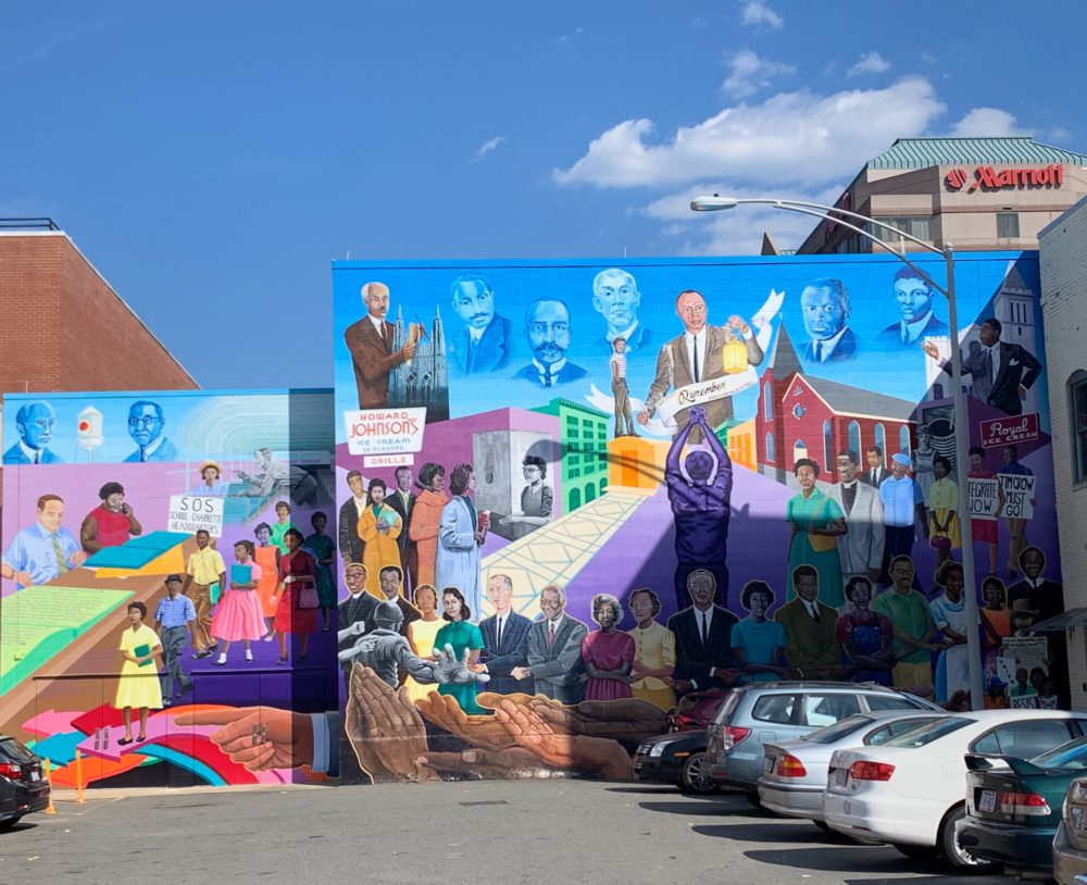 downtown Durham mural reflecting civil rights movement moments