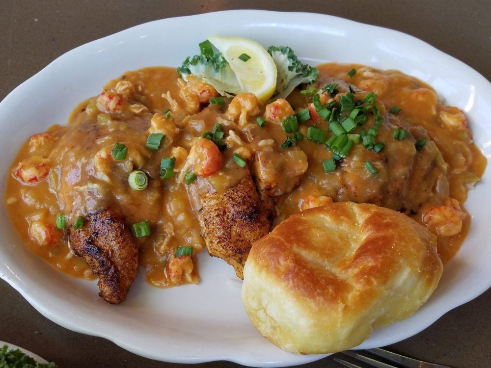 plate with crawfish etouffee
