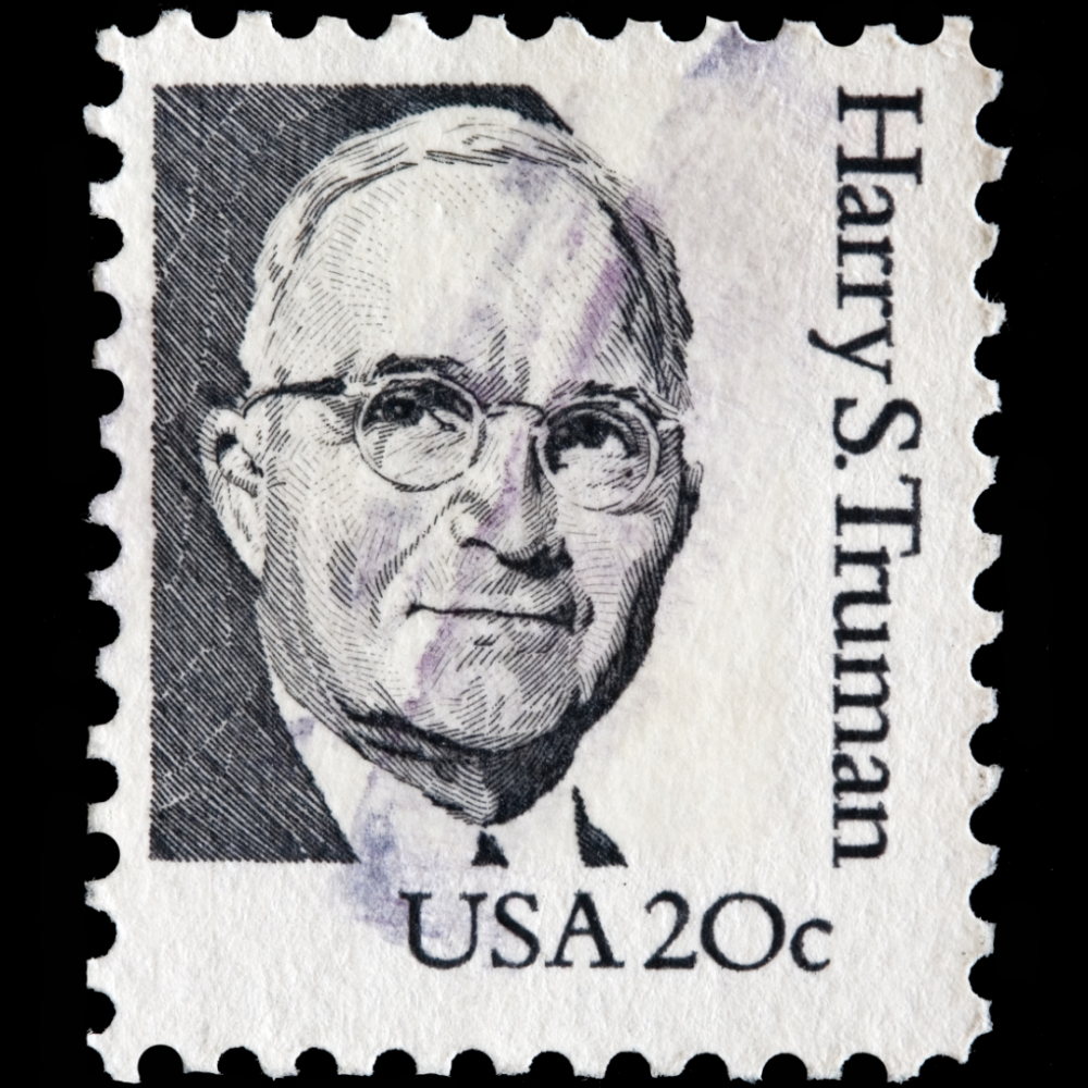 black and white Harry S. Truman 20 cent stamp