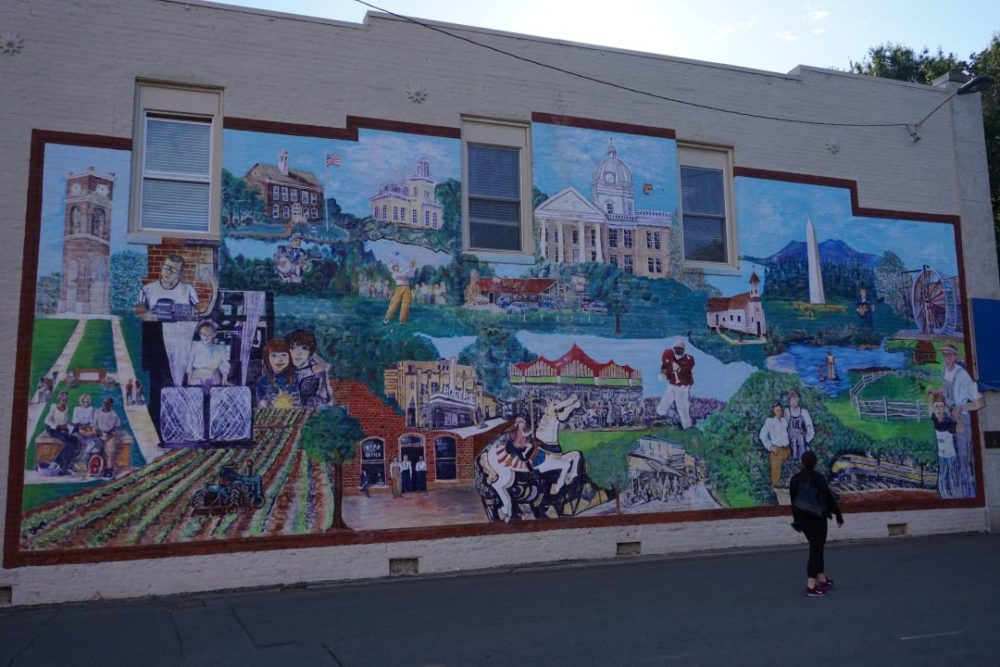 A Weekend in Shelby NC featured by top NC travel blog, The Common Traveler:  mural featuring local Shelby, NC history and attractions