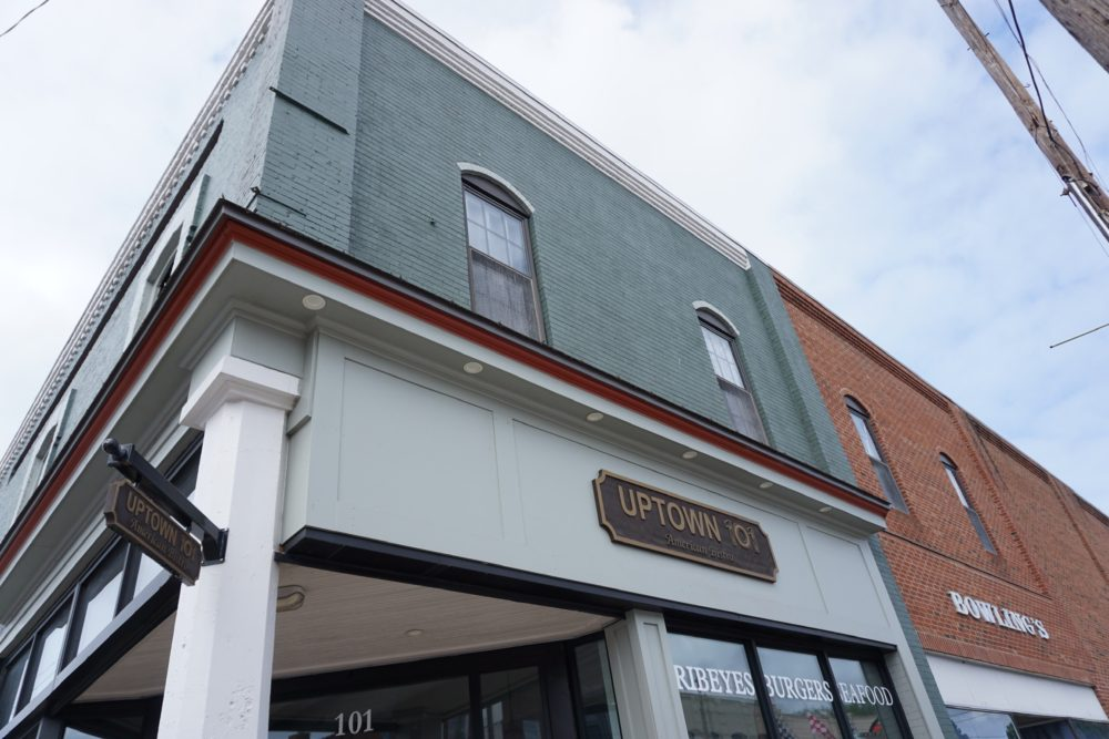 Front of building of Uptown 101 Restaurant in Oxford, NC
