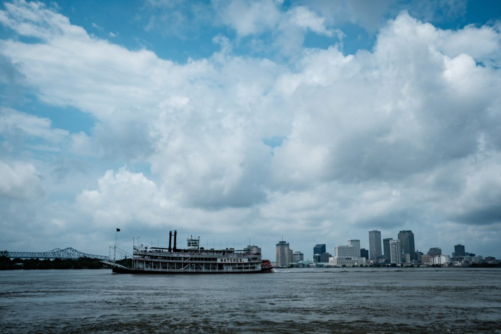 paddleboat on river in New Orleans