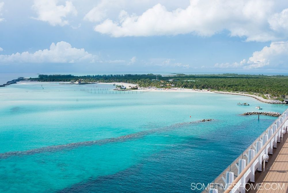 The Best Caribbean Cruise Shore Excursions to do on Port Day featured by top cruise blog, The Common Traveler: image of Blue water ocean view of Castaway Cay