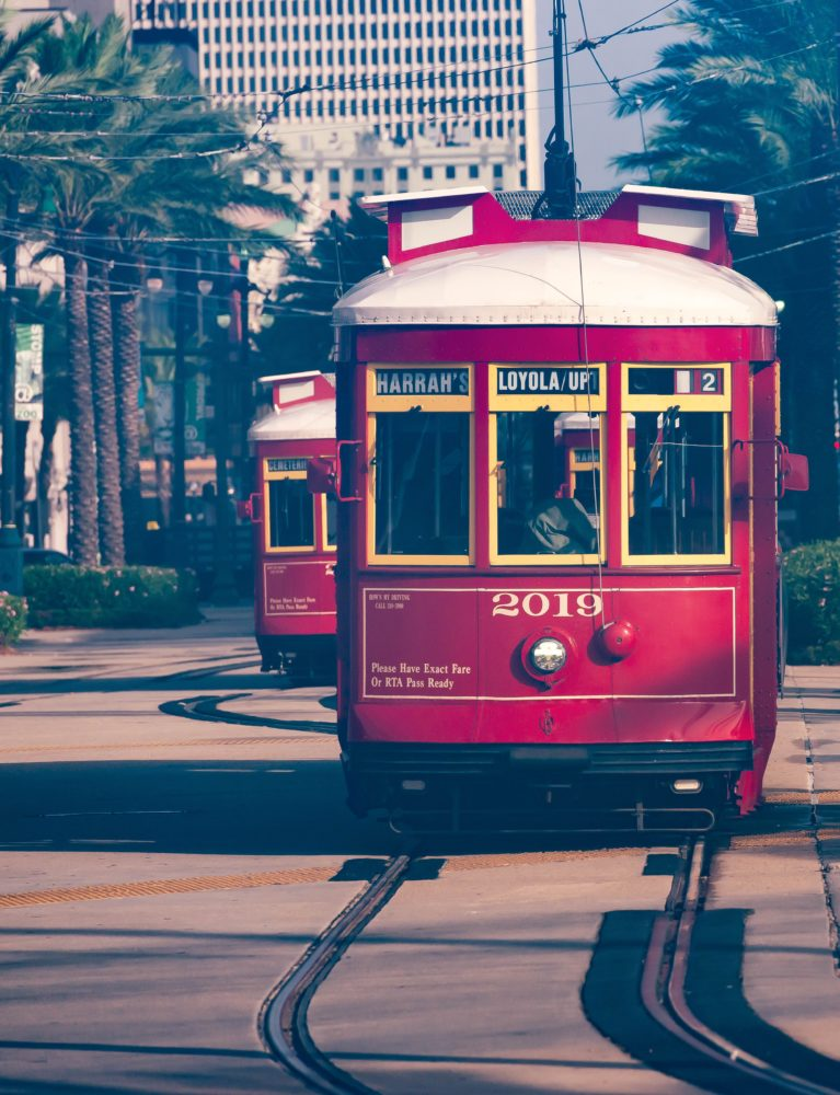 red trolley in New Orleans - one of the many reasons to visit New Orleans, Louisiana