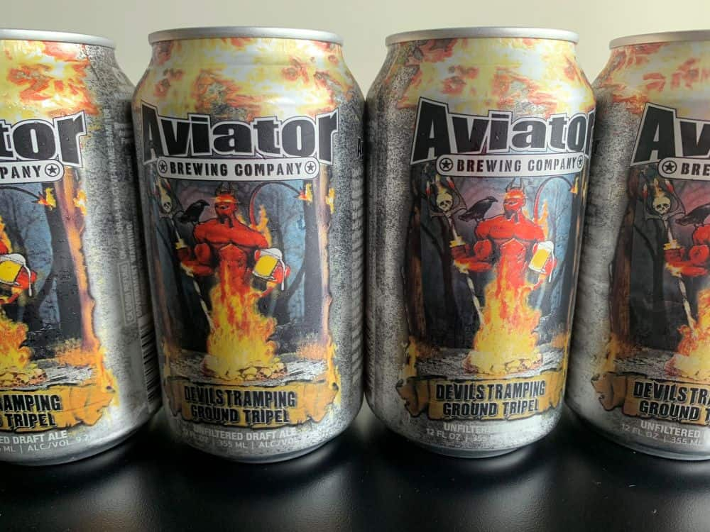 cans of Aviator Brewing Company beer