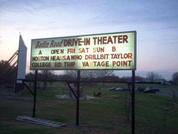 TOP 5 DRIVE-IN MOVIE THEATERS IN NC featured by top NC blog, The Common Traveler: image of Badin Road Drive-in Theater sign