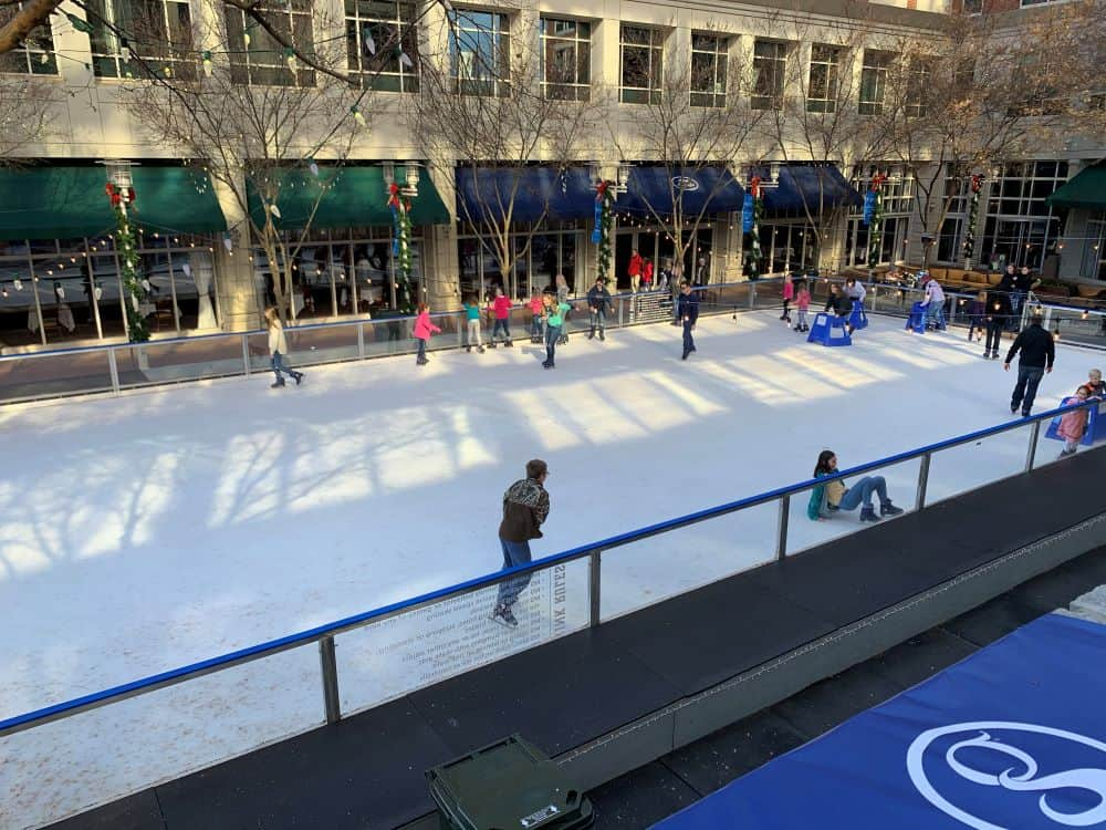 people skating at Ice on Main - things to do in Greenville SC in winter