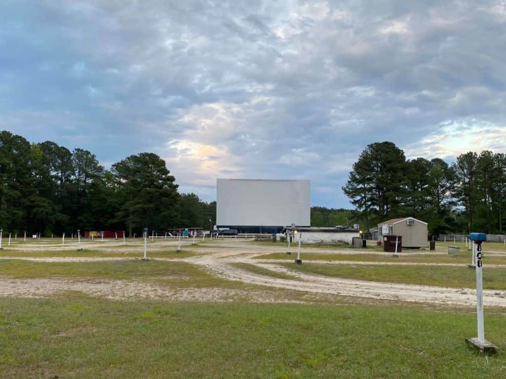 TOP 5 DRIVE-IN MOVIE THEATERS IN NC featured by top NC blog, The Common Traveler: image of Raleigh Road Outdoor Theater Screen