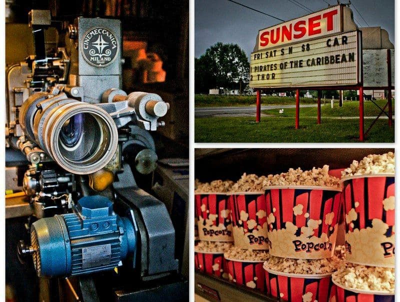 TOP 5 DRIVE-IN MOVIE THEATERS IN NC featured by top NC blog, The Common Traveler: Three images: film camera; Sunset Drive-In Theater marquee; popcorn tubs