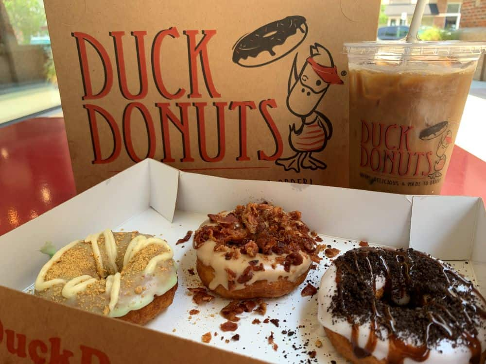 TOP 10 BEST DONUTS IN NORTH CAROLINA featured by top NC blogger, The Common Traveler: 3 donuts and iced coffee from Duck Donuts - best donuts in nc