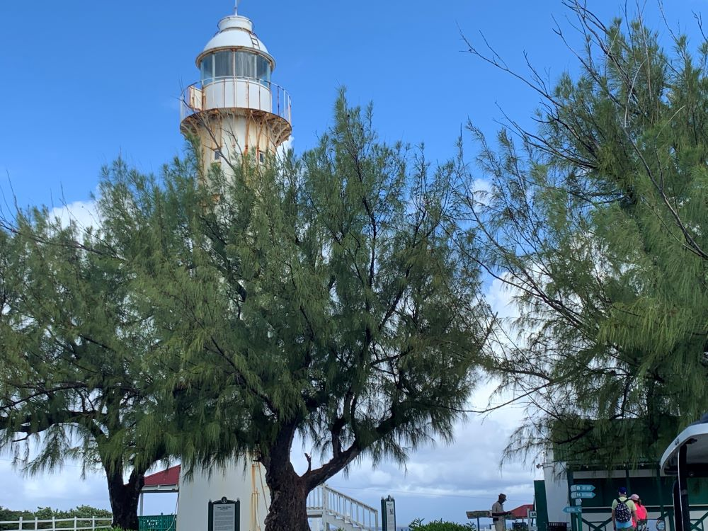 The best things to do in Grand Turk Island on port day featured by top cruise travel blogger, The Common Traveler: white metal lighthouse in Grand Turk, Turks and Caicos