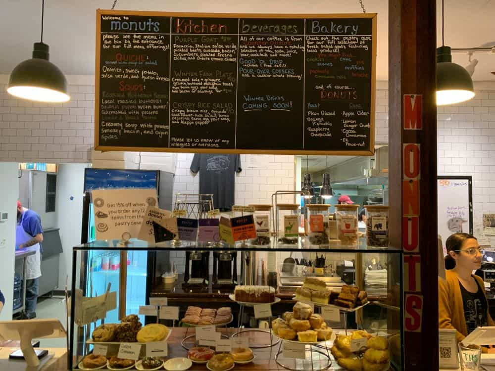 TOP 10 BEST DONUTS IN NORTH CAROLINA featured by top NC blogger, The Common Traveler: Display and menu board at Monuts in Durham - Best Donut Shops in NC