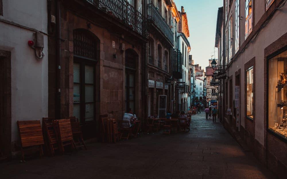 narrow street in Santiago de Compostela in Spain