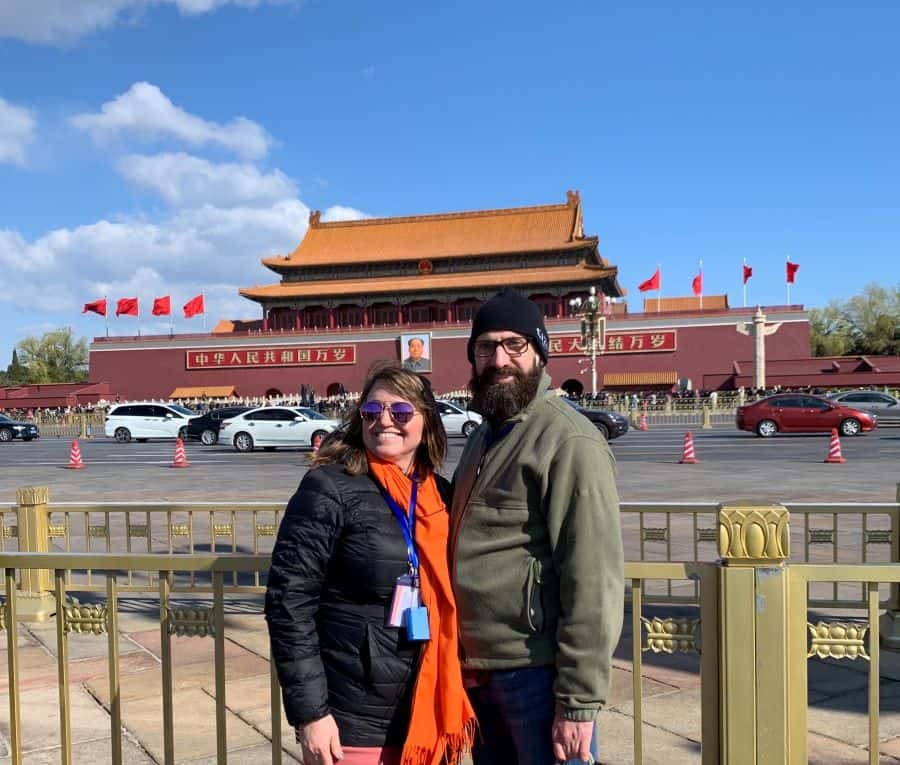 couple in front of Forbidden City in Beijing