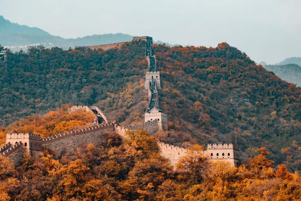 Great Wall of China in the fall