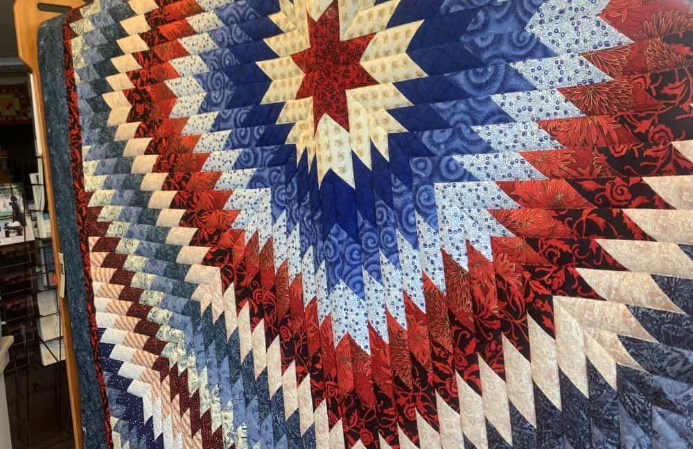 red, white, and blue quilt from PA Dutch