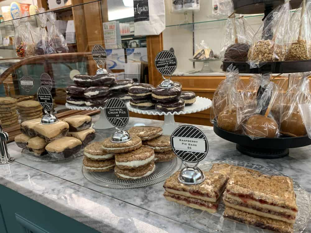 THE BEST THINGS TO DO IN LITITZ PA featured by top US travel blogger, The Common Traveler: image of Whoopie pies, caramel pies, raspberry pie bars at Sweet Legacy Gourmet Treats in Lititz PA