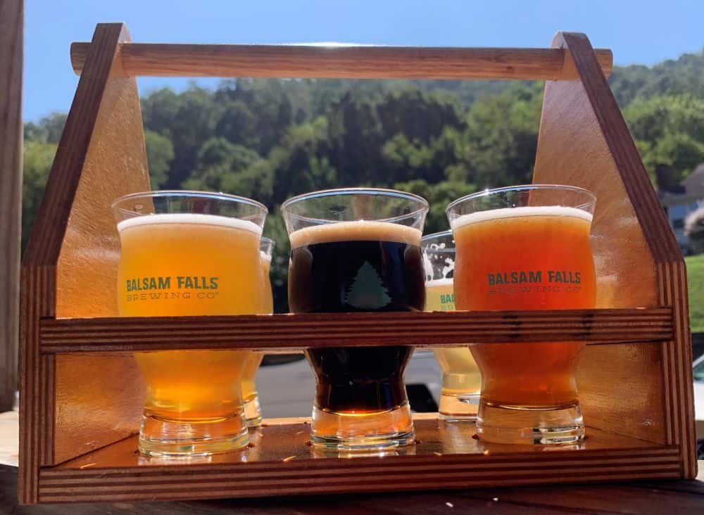 flight of beers from Balsam Falls Brewing Co in Sylva, NC
