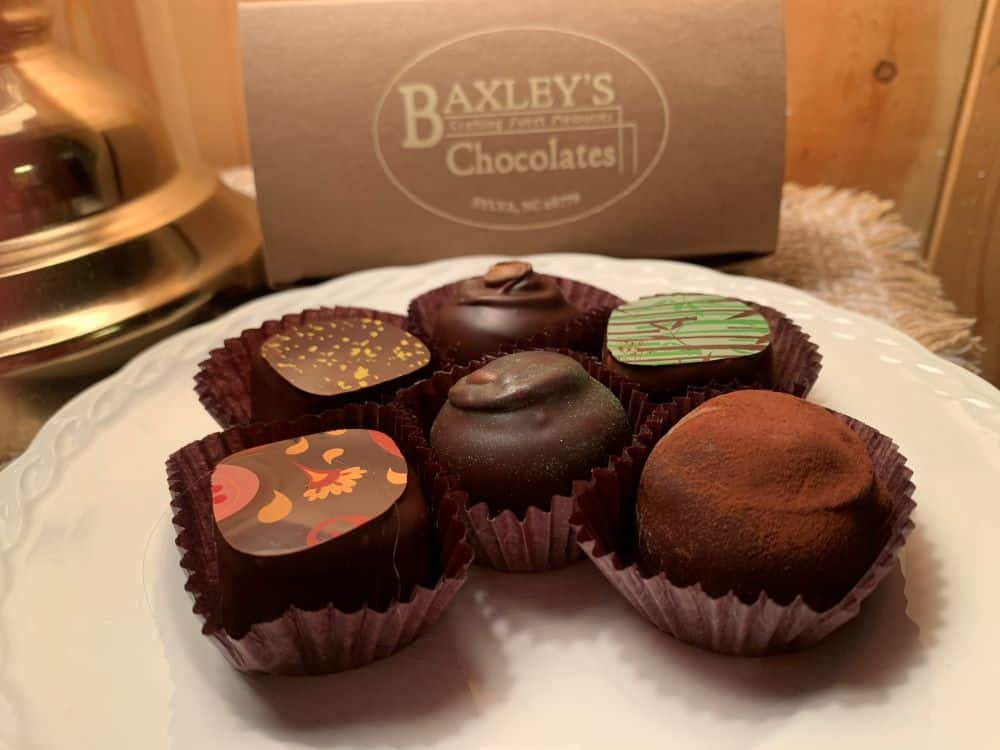 assortment of chocolates from Baxley's Chocolates from Sylva, NC