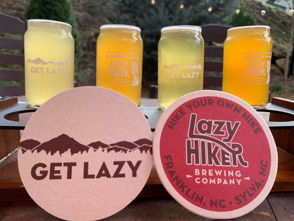 flight of beers from Lazy Hiker Brewing Company in Sylva, NC