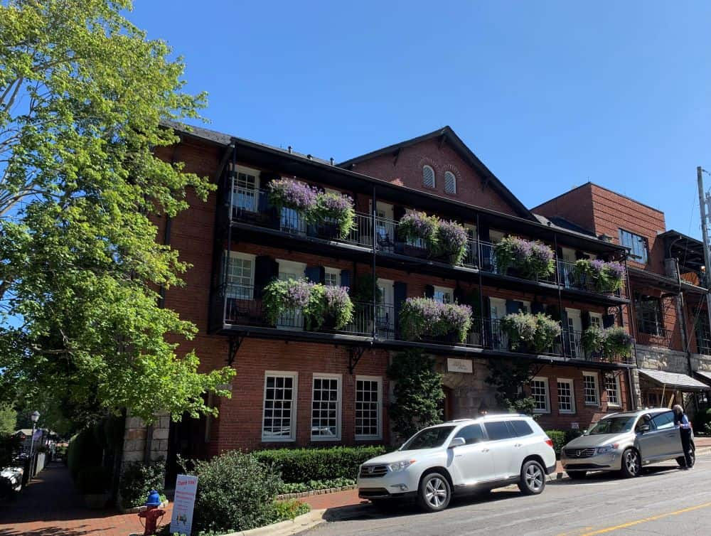 200 Main Street Hotel balconies with flowers in Highlands NC