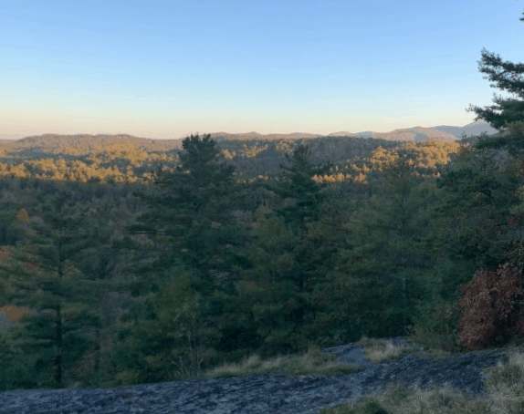 View of valley from Sunset Rock on Whiteside Mountain in Highland NC