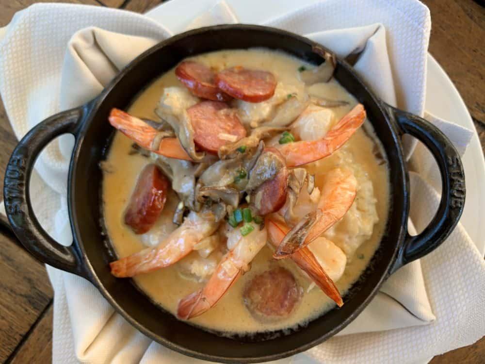 Shrimp and grits at Old Edwards Inn Wine Bar in Highlands NC