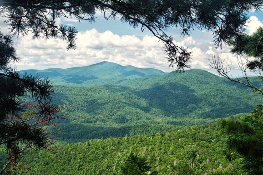 view of mountains along Highway 64 in Highlands NC