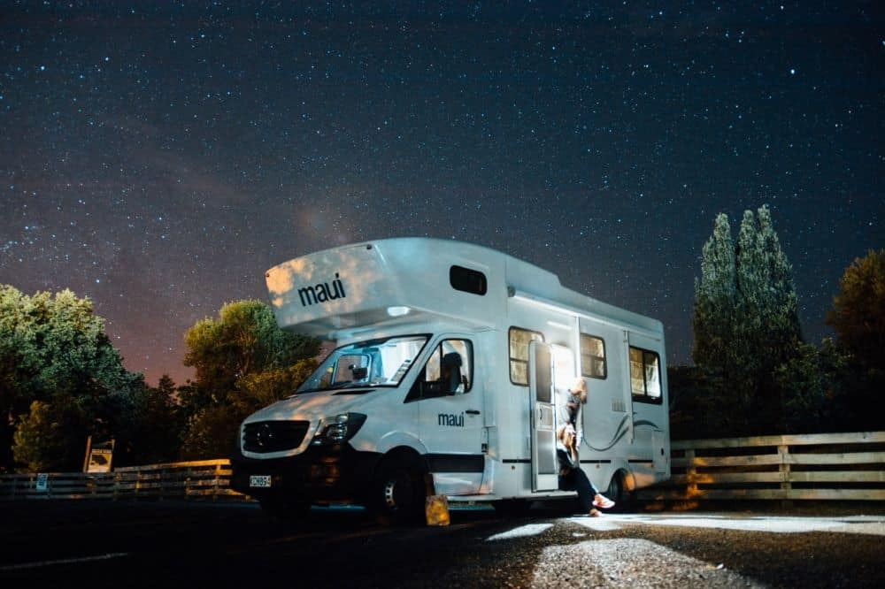 5 Top Tips for a road trip in a campervan in Australia featured by top travel blogger, The Common Traveler: campervan at night