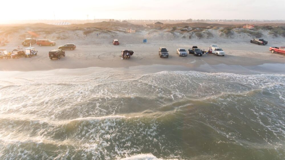 cars camping on beach at Padre Island, Texas