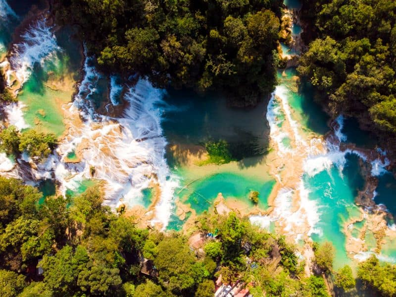 Mexico's Pueblos Magicos Worth Visiting by The Common Traveler: Image of aerial view of Agua Azul falls. |Pueblos Magicos Mexico by popular US international blog, The Common Traveler: image of Palenque, Chiapas.