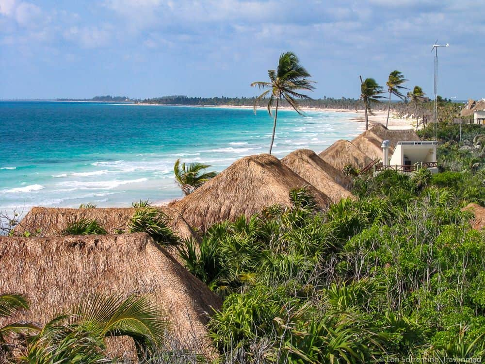 Mexico's Pueblos Magicos Worth Visiting by The Common Traveler: Image of thatched roofs along seacoast in Tulum |Pueblos Magicos Mexico by popular US international blog, The Common Traveler: image of Tulum Quintana Roo.