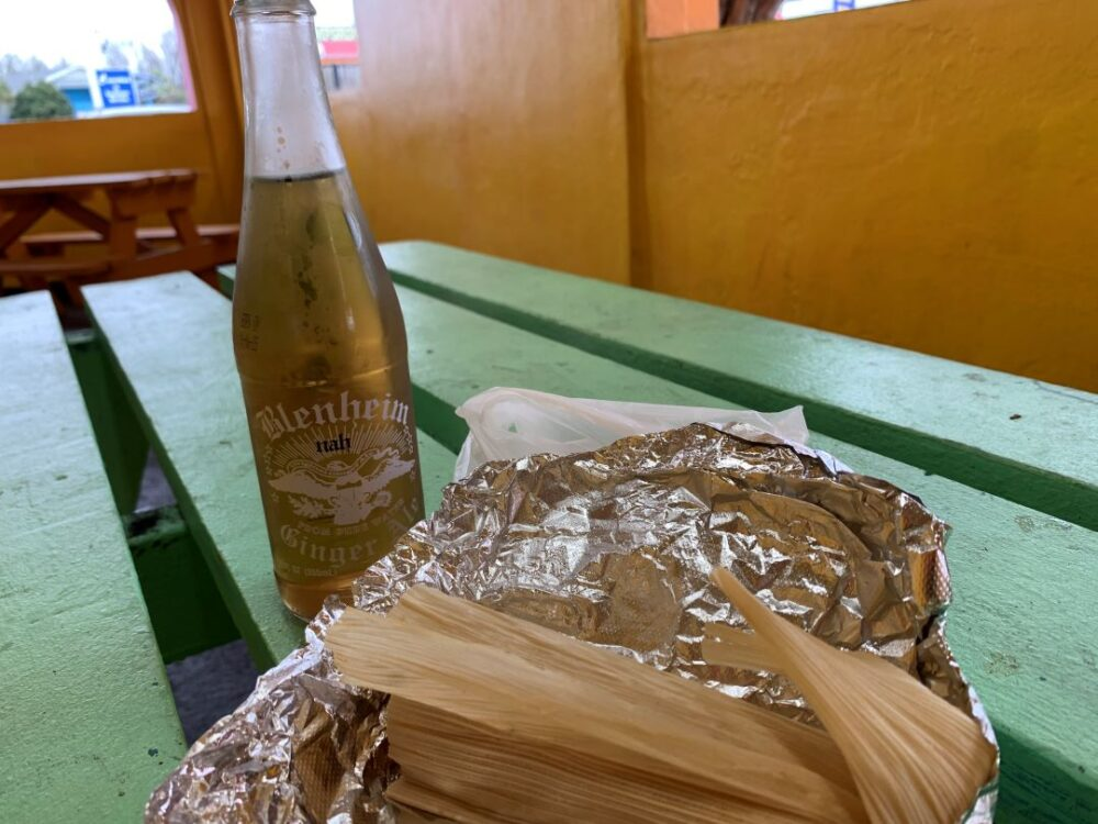 South of the Border food - Blenheim Ginger Ale and Tamale