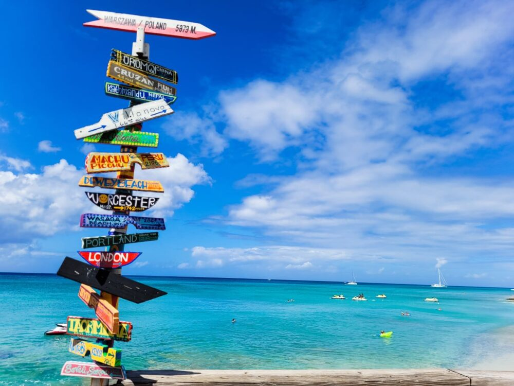 Image: sign with distances to different towns in the world against blue sea in Frederiksted, St. Croix, USVI.|Best Things to do in the US Virgin Islands: image of Frederiksted in St. Croix.