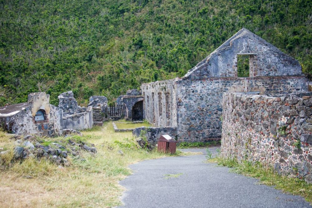 Image: stone ruins, Annaberg Mill Ruins on St. John, USVI. |Best Things to do in the US Virgin Islands: image of  Annaberg Mill Ruins on St. John.