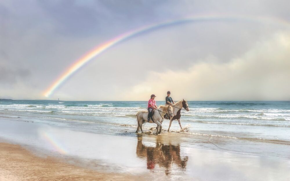 Image: two people horseback riding on beach with rainbow |Best Things to do in the US Virgin Islands: image of two people riding on horses on the beach in the Caribbean with a rainbow in the background.